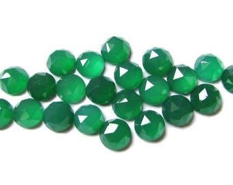 10 pcs 3mm Green Onyx Round Rose Cut gemstone, Green Onyx Rose Faceted Round Cabochons, Green Onyx RoseCut Round Faceted Cabochon Gemstone