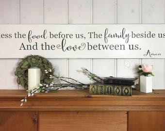 Bless the food before us   rustic wood sign   kitchen wall decor   dining room sign   the family beside us and the love between us prayer