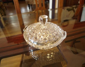 Vintage Fostoria American Lidded Clear Glass Cubist Pattern Candy Dish
