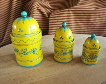 Festive Italian Ceramic Canister Set of 3 – Yellow and Blue Stoneware Canisters Made in Italy