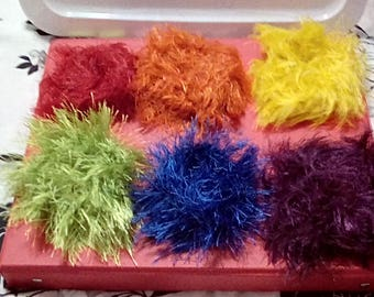 6 colors hair scrunchies. Made with fun fur red,