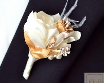 Wedding Boutonniere Gold Boutonniere Ivory Boutonniere Buttonhole Grooms Boutonniere Jewelry Boutonniere Rose Boutonniere Fabric Boutonniere
