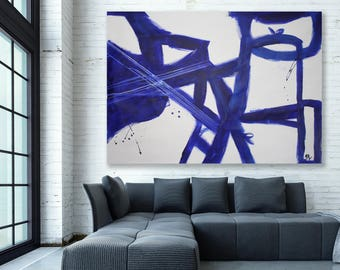 Blue Modern Art / Abstract Painting / Blue Abstract Art / Extra Large Blue Painting / Extra Large Blue Abstract Art / Blue Art / Large Art