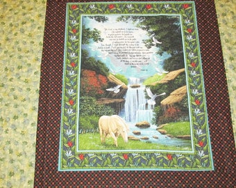 Hand-made machine-quilted Psalm 23 Quilt : free shipping