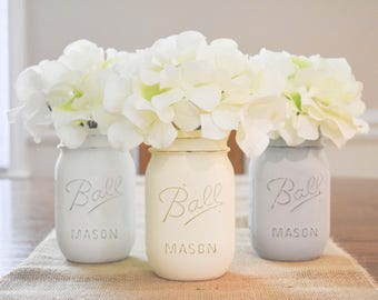 Mason Jar Table Decor- Rustic Home Decor- Mason Jar Kitchen Decor- Mason Jar Decor- Mason Jar Centerpiece- Wedding Centerpieces-