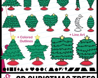 2D Shapes: Christmas Trees Clipart