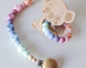 Dummy Necklace Greifring Pastel Silicone Beads
