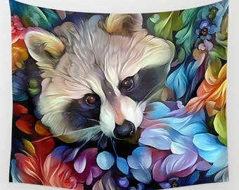 Raccoon Tapestry, Animal Tapestry, Raccoon Wall Hanging, Animal Wall Hanging, Trash Panda Tapestry, Trash Panda, Wall Hanging, Wall Decor