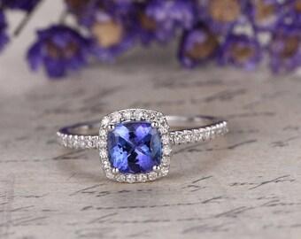 18K White Gold Blue tanzanite Engagement Ring,Cushion gem wedding ring,tanzanite promise ring for her,Diamonds Halo Ring,Art desc antique