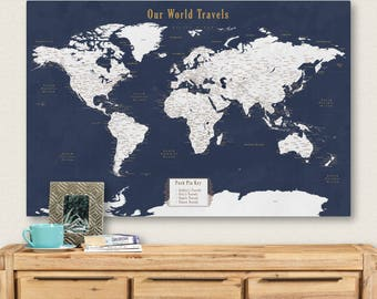 Travel map etsy push pin personalized world map push pin travel map for push pins map with cities push gumiabroncs Choice Image