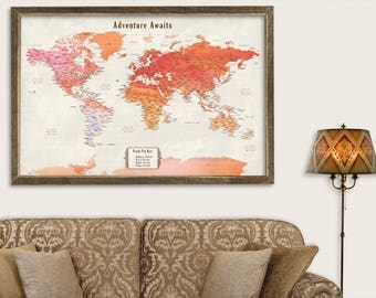 Push pin travel map etsy push pin personalized world map push pin travel map for push pins map with cities push gumiabroncs Image collections