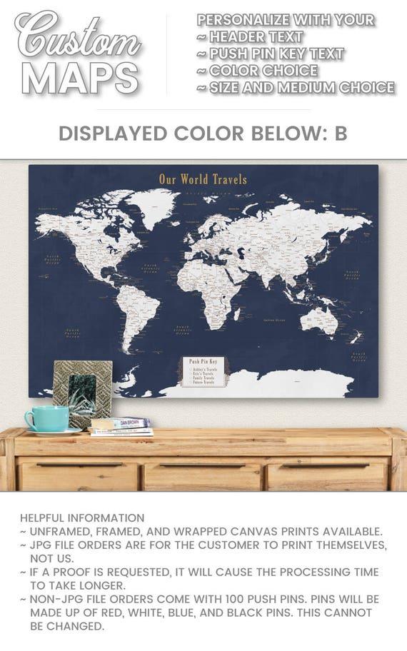 World Travel Map World Map Wall Art World Map Push Pin Map Art