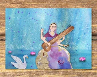 Saraswati, hindu goddess, yoga art, art for her, art for yogi, art print, yoga, boho art, bohemian art, goddess art, yoga inspiration, India