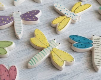 Dragonfly white ceramic magnet