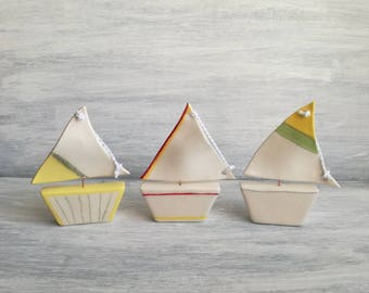 Miniature ceramic sailboat