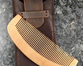 Wood Beard Comb, Beard Comb, Wood Beard Comb/Leather Holder, Leather Holder for Beard Comb, Mustache Comb, Beard Grooming Comb