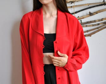 Japan style vintage blouse 1990s 1980s red womens long cloak asian shirt