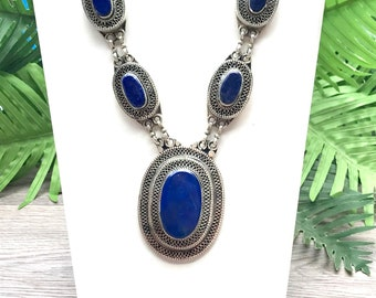 Lapis lazuli tribal necklace, Afghan jewelry, Lapis Kuchi necklace, lapis pendant necklace,bohemian statement necklace, free shippin, sale