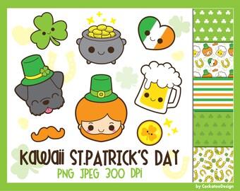 50% OFF, St.Patricks Day clipart, Saint Patricks Day clip art, kawaii leprechaun clipart, St. Patricks Day digital papers, shamrock clip art