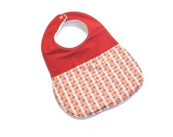 Terry baby bib and red and orange drops print