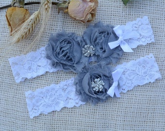 Bridal Garter Grey, Rustic Garter Set, Grey Bridal Clothing, Grey Wedding Gift, Retro Garter, Garter Set Grey, Keep Garter grey, Lace Garter