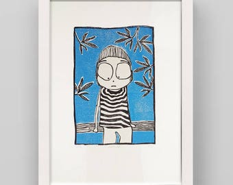 Linocut print child on a tree