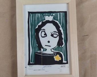 Linocut print girl friend princess