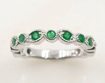 emerald wedding bandnatural emerald wedding ringart deco emerald ringmilgrain emerald - Emerald Wedding Ring