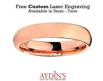 Domed Rose Gold Plated High Polish 5mm Tungsten Carbide Wedding Ring
