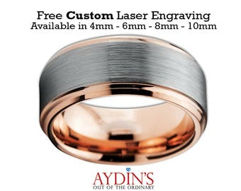 Mens and Womens Tungsten Wedding Band Ring 10mm Comfort Fit 18K Rose Gold Beveled Edge Brushed and Polished