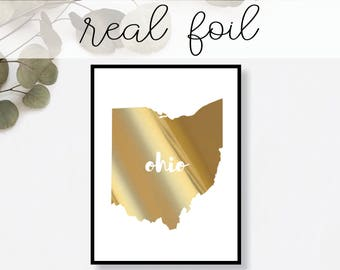 Ohio State Print // Real Gold Foil // Minimal // Gold Foil Print // Decor // Modern Office Print // Typography // Fashion Print