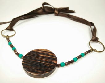 GREEN TURQUOISE DARJEELING - Palm Wood with Green Turquoise and Bronze Faceted Glass Beads Ribbon Tie Choker Necklace