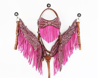 MadcoW Handmade Pink Angle Wings Fringe Wickett & Craig Hand Tooled Leather Headstall Western Horse Trail Show Bridle Breast Collar Set