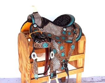 Turquoise Western Leather Handmade Trail Horse Barrel Saddle Barrel Racing Bridle Breast Collar Tack Set