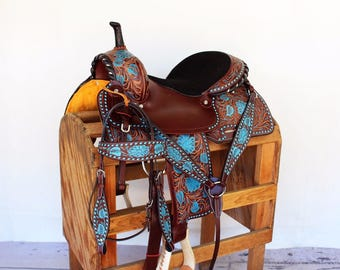 Turquoise Buckstitch Western Leather Handmade Trail Horse Barrel Saddle Barrel Racing Bridle Breast Collar Tack Set