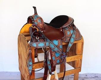 Turquoise Buckstitch Western Leather Handmade Trail Horse Barrel Saddle Barrel Racing Bridle Breast Collar Tack Set