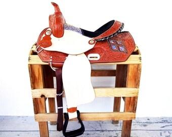 "15"" Blue Brocade Western Horse Pleasure Trail Barrel Racer leather Saddle"