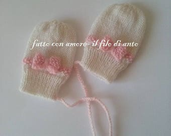 Baby Pink bow wool gloves mittens