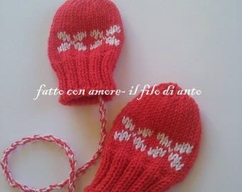 Red Merino Wool gloves mittens