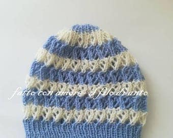 Striped baby hat in pure wool