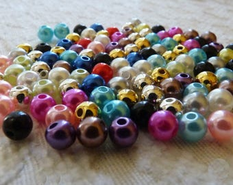Acrylic Pearl Beads, 6mm Mixed Beads, Colorful Pearls, Mixed Pearl Beads, 6mm Round Pearls, 6mm Beads, Spacer Beads, Beading Supplies