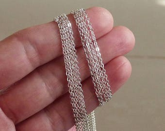 """16"""" Cable Chain Necklace,  925 Silver Plated Finished Necklace Chain with Lobster Clasp, 1.5mm Wide Silver Plated Flat Cable Chain Necklace"""