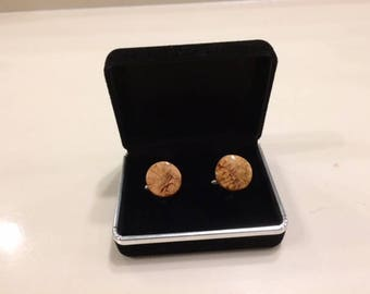 Black cherry burl cufflinks