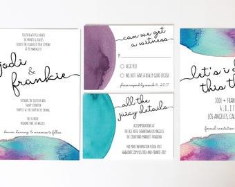Wedding Invitation / Wedding Suite / Watercolor / Invitations / Teal and Purple Weddings / RSVP Card / Wedding Response Card
