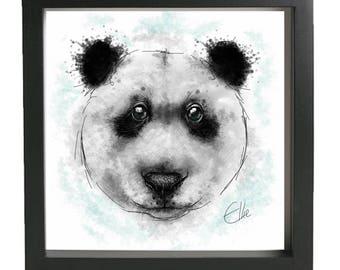 Panda painting // framed panda print // panda print // panda art // panda drawing // panda gifts // bear gifts // bear art // panda lover