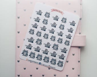 Cute Wolf Does Exercise Planner Stickers