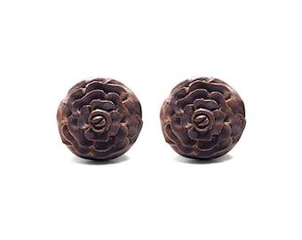 Camellia - hand carved organic sawo wood double flare plug