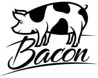 BBQ Logo #26 Pork Grill Grilling Meat Pig Bacon Barbecue Butcher Cooking Cook Out Chef Food Restaurant .SVG .EPS Vector Cricut Cut Cutting