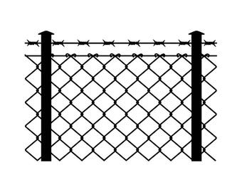 Barbed Wire Fence #2 Chain Link Straight Razor Barb Fencing Jail Protection Security Prison .SVG .EPS .PNG Clipart Vector Cricut Cut Cutting