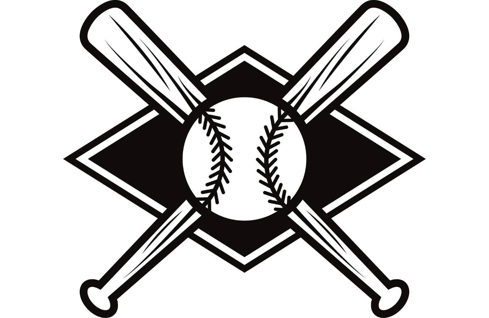 baseball logo 4 bats crossed ball diamond league equipment Crossed Bats Vector crossed softball bats clipart